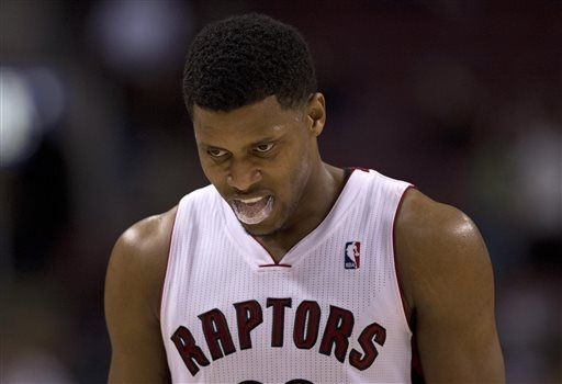 Rudy Gay can't keep his mouth guard in his mouth