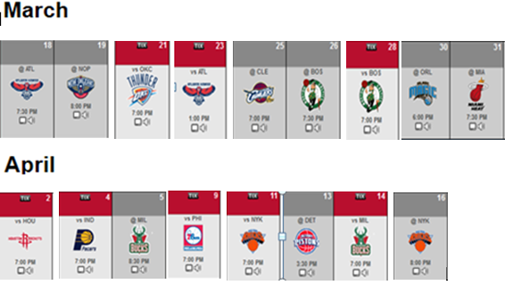 Raptors Remaining March April Games
